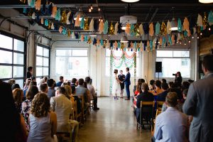 A wedding being held at Propeller Coffee.